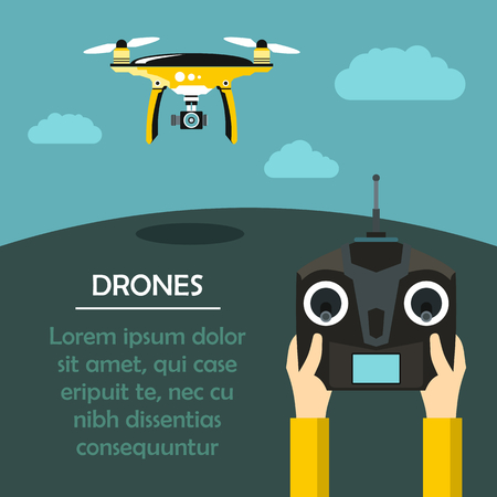 Radio-controlled drones concept with console in hands. Flat vector illustration Vettoriali