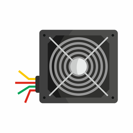 hardware repair: Flat hardware power supply icon for repair service design. Vector illustration