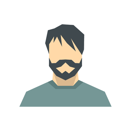 Man flat avatar on white background. Vector illustration Illustration