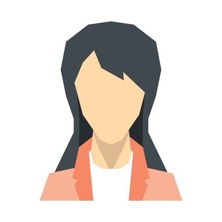 Woman silhouette avatar on white background. Vector illustration