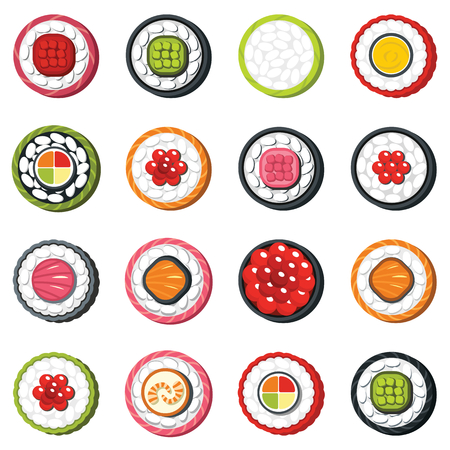 egg roll: Set of type seafood roll, Japanese food sushi vector set in cartoon style. Elements for illustration, infographics and banners.
