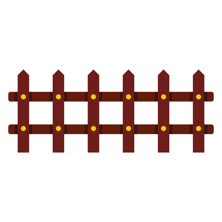 Cartoon flat fence isolated on white background. element for agro design. Illustration