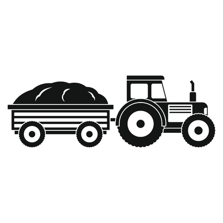 agro: Tractor in black style isolated on white background. elements for agro farm design