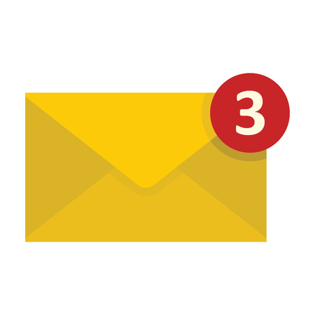 Flat yellow mail letter icon. Vector mail object for web.
