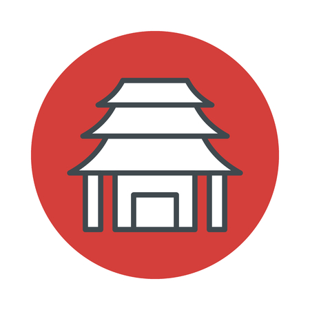 Japan temple icon isolated on white background. Vector illustration