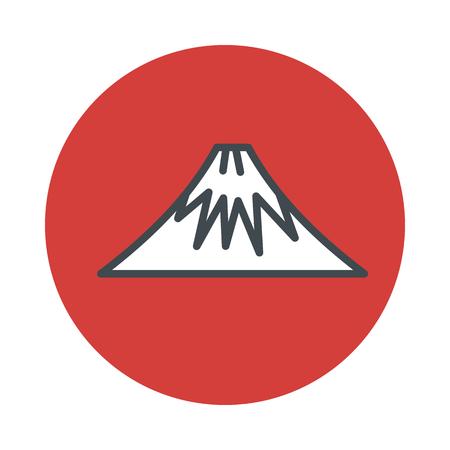shinkansen: Mountain volcano Fuji icon isolated on white background. Vector illustration
