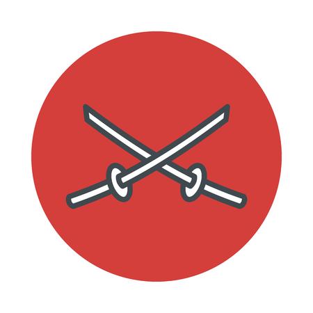 scheide: Japan Schwert Katana-Symbol auf weißem Hintergrund. Vektor-Illustration Illustration