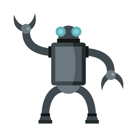 Funny vector robot in flat style isolated on white background