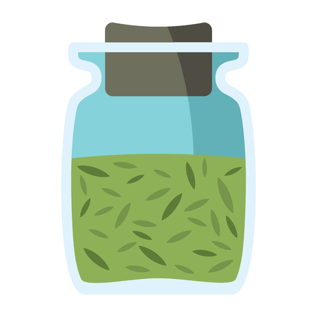 Jars with spices in cartoon flat style isolated on white background vector stock ilustration element for infographic, banner and spice design
