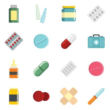 Medicine cartoon pill, drugs and antibiotics icons set. Elements for medical design and illustration Illustration