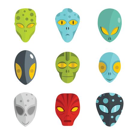 Alien flat face set isolated on white background. Vector illustration