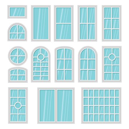 Windows 3d flat cartoon set isolated on white background. Interior elements. Vector illustration Illustration