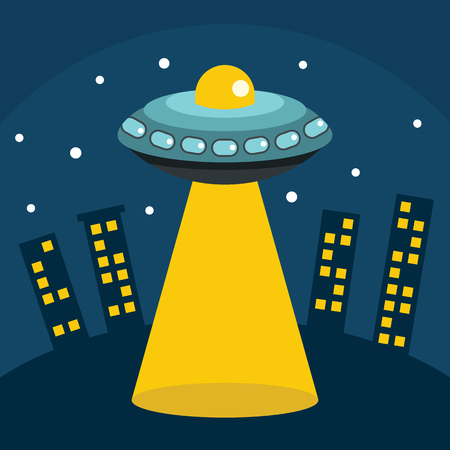invader: Flat cartoon vector illustration with ufo abduction on dark sky in the town Illustration