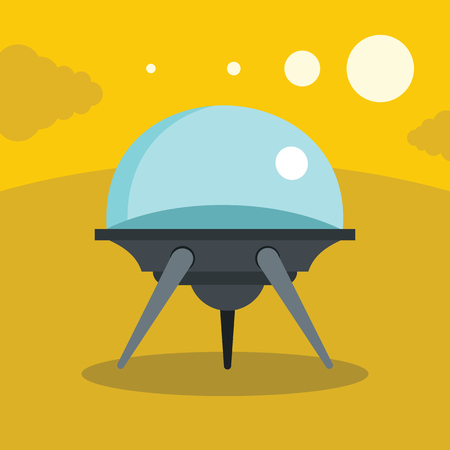 unidentified flying object: Flat cartoon space ufo object in the color background. Vector illustration