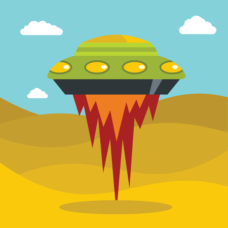Flat cartoon space ufo object in the color background. Vector illustration