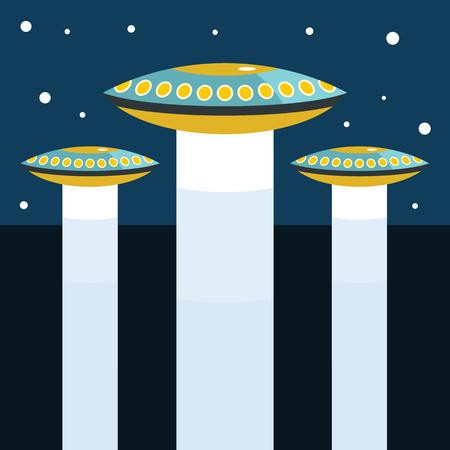 町の暗い空に ufo の拉致問題とフラット漫画ベクトル図