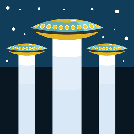 Flat cartoon vector illustration with ufo abduction on dark sky in the town Illustration