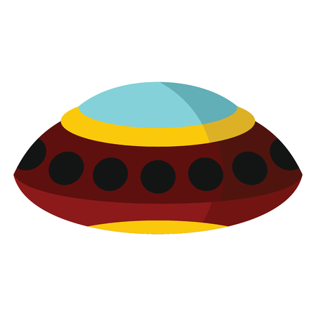 invader: Flat cartoon spaceship ufo object isolated on white background. Vector illustration. Element of banners, infographics, and labels.