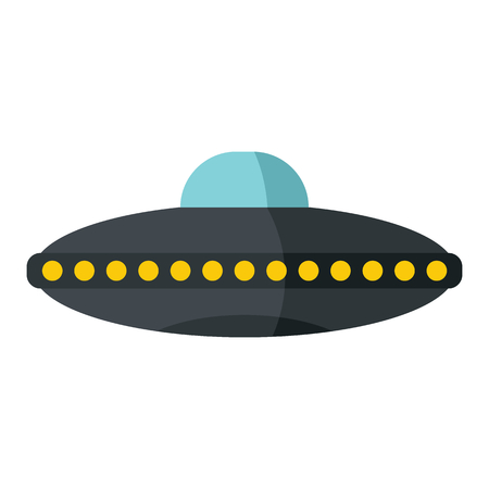 Flat cartoon spaceship ufo object isolated on white background. Vector illustration. Element of banners, infographics, and labels.