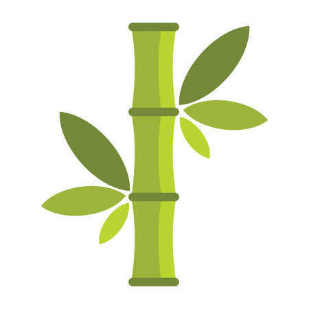 Flat cartoon green bamboo icon isolated on white background. Element for asian and oriental banners, labels and infographic.