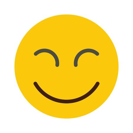 Flat smile emodji isolated on white background. Vector illustration