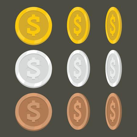 Set flat cartoon coin icons. Illustration