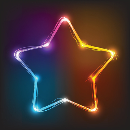 Vector neon star, illuminated neon billboard. Element for signboard, bar, saloon, club, cafe and disco Illustration