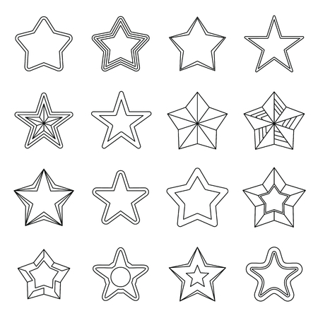 rating: Set flat black line star icons. Elements for stars design, infographics, labels, advertising and web sites. Illustration