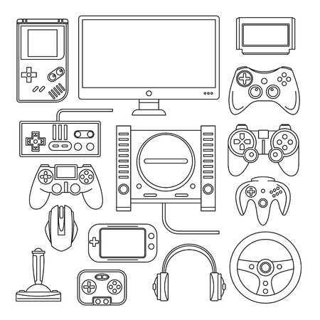 Computer, digital video online game console, game tools vector set. Black line