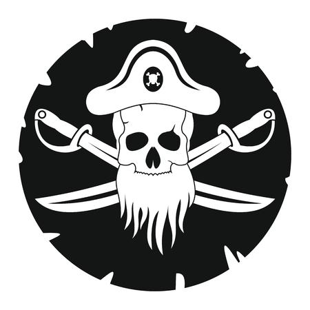 Étiquette de pirate noir. Illustration de pirate en style simlpe noir isolé sur fond blanc. Éléments pour illustration, infographie, logos et bannières. Logo