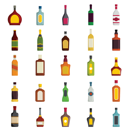 Alcoholic Drinks Bottles Large Vector Set in cartoon flat style. Elements for web, advertising, infographics.