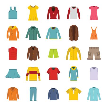 Vector conjunto de ropa de moda en estilo plano. Varias prendas masculinas y femeninas Foto de archivo - 81802218