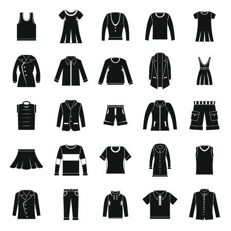 children silhouettes: Clothes icons set in silhouette style Vector set clothing on white background including dresess, skirts, shorts, pants, tops and t-shirt.