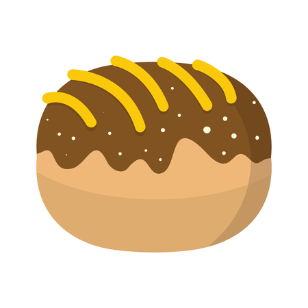 bun: Roll colorful bakery product icon