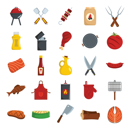 Bbq grill colored decorative icons set with barbeque and cooking utensil isolated vector illustration in cartoon style Illustration