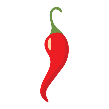 Red chilli pepper icon in cartoon flat style isolated object vegetable organic eco bio product from the farm vector illustration. Red chilli peppe object for vegetarian design