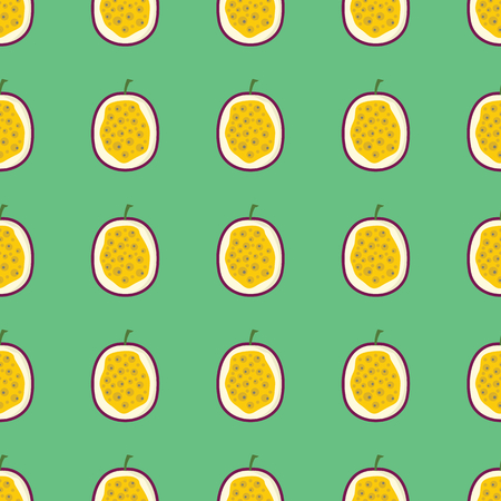 Passion vector seamless pattern. Cartoon fruit stylish texture. Repeating passion fruit seamless pattern background for friut design and web