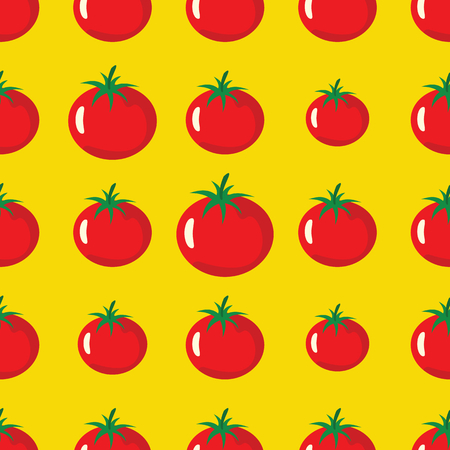 Tomato vector seamless pattern. Cartoon vegetable stylish texture. Repeating tomato vegetables seamless pattern background for eco bio vegetables design and web Illustration