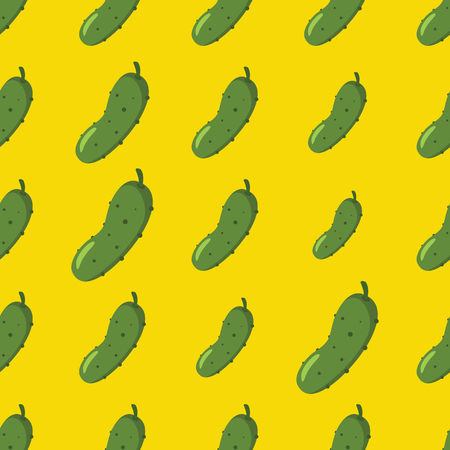 Cucumber vector seamless pattern. Cartoon vegetable stylish texture. Repeating cucumber vegetables seamless pattern background for eco bio vegetables design and web