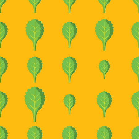Spinach vector seamless pattern. Cartoon vegetable stylish texture. Repeating spinach vegetables seamless pattern background for eco bio vegetables design and web Illustration