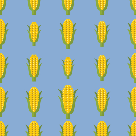 Corn vector seamless pattern. Cartoon vegetable stylish texture. Repeating plum vegetables seamless pattern background for eco bio vegetables design and web