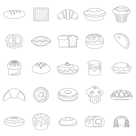 Bakery products black line icons set. Bakery black line design elements, infographics, badges, labels, icons and bakery objects