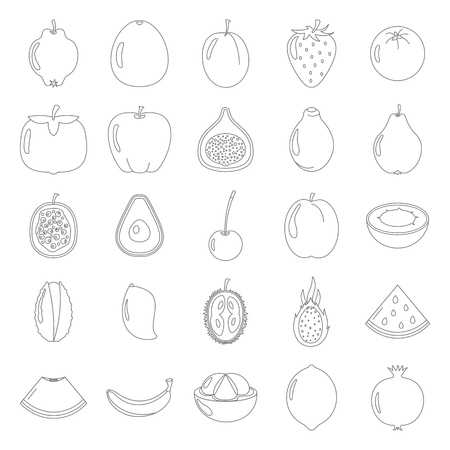 banana: Fruit icons collection black thin line set. Elements of fruit eco bio food design and web Illustration
