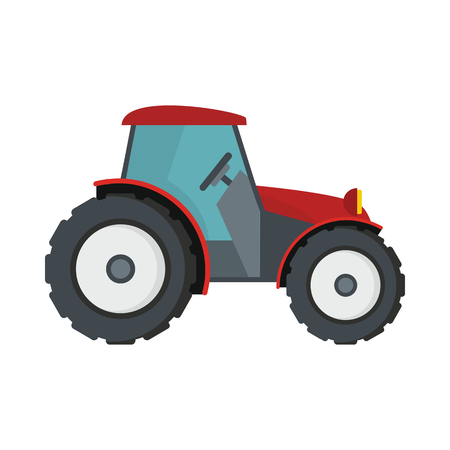 traction: Tractor flat cartoon icon. Agricultural mashine vector illustration for design and web isolated on white background. Tractor vector object for labels, logos and advertising