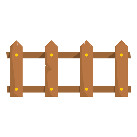 Wooden fence flat cartoon icon. Palisade vector illustration for design and web isolated on white background. Wooden fence vector object for labels, advertising