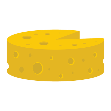 cheez: Yellow cheese flat cartoon icon. Cheese vector illustration for design and web isolated on white background. Cheese vector object for labels, logos and advertising Stock Photo