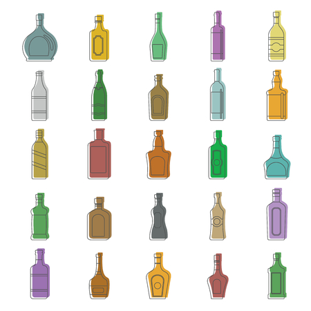 Alcohol bottles doodle icon set. Alcohol bottles doodle vector illustration for design and web isolated on white background. bottles vector object for labels, logos and advertising Illustration