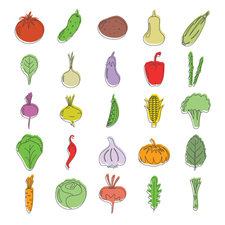 Doodle vegetables icons set. Eco vegetables vector illustration for design and web isolated on white background. Doodle vegetables vector object for labels, logos and advertising Illustration