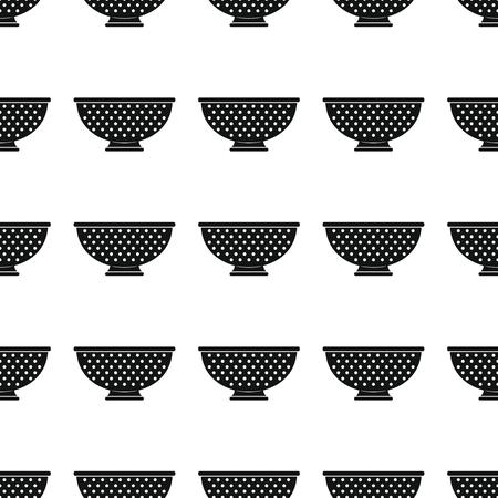 Colander seamless pattern vector illustration background. Black silhouette colander stylish texture. Repeating colander seamless pattern background for kitchen design and web Stock Photo