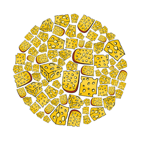 Cheese cartoon icons set on circle. Cheese vector illustration for design and web isolated on white background. Cheese vector object for labels, logos and advertising